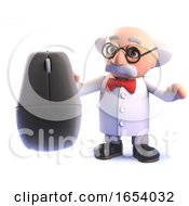 3d Cartoon Mad Scientist Professor Character Holding A Computer Mouse