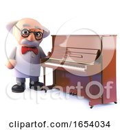 3d Cartoon Mad Scientist Character Standing By An Upright Piano