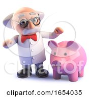 3d Crazy Mad Scientist Professor With A Big Pink Piggy Bank