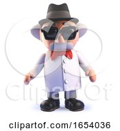 Mad Scientist Professor Cartoon Character In 3d Wearing A Pork Pie Trilby Hat