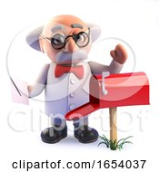 Poster, Art Print Of 3d Crazy Mad Professor Scientist Takes Mail From His Mail Box