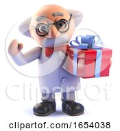 Cartoon Mad Professor Scientist Character Holding A Gift Wrapped Present