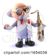 Crazy Cartoon Mad Scientist Character In 3d Playing A Saxophone