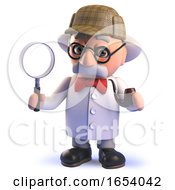 Crazy Mad Scientist Cartoon Character In 3d Dressed Like Sherlock Holmes Holding A Magnifying Glass