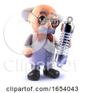 Cartoon Mad Scientist In 3d Holding A Vehicle Suspension Shock Absorber