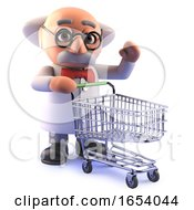 Cartoon 3d Mad Scientist Professor Character With A Shopping Trolley