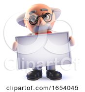 Cartoon Mad Scientist Professor Character In 3d Holding A Blank Banner