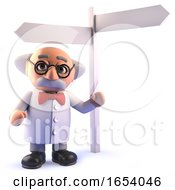 3d Cartoon Mad Scientist Standing Next To A Sign Post