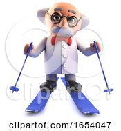 3d Cartoon Mad Scientist Professor Is Skiing In The Snow