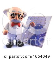 3d Cartoon Mad Professor Scientist Character With A Solar Cell Energy Panel