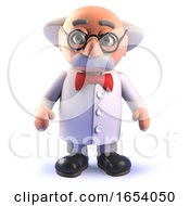 Cartoon 3d Mad Scientist Professor Standing In An Alert And Intelligent Fashion