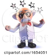Stunned 3d Cartoon Mad Scientist Character With Stars Round His Head