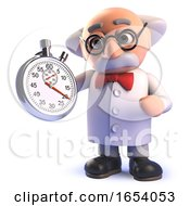 Cartoon 3d Mad Scientist Character Holding A Stopwatch