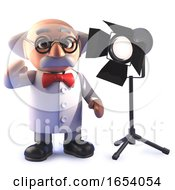 Cartoon Mad Scientist Professor In 3d With A Studio Spotlight
