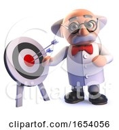 Cartoon 3d Mad Scientist Professor Standing By A Target With Arrows In It
