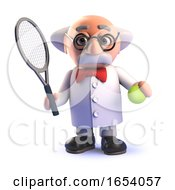 Cartoon 3d Mad Scientist Character Playing Tennis