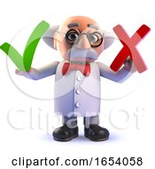 3d Mad Scientist Cartoon Character Holding A Cross And Tick