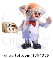 Cartoon Mad Scientist 3d Character Holding A Ticket For Admission