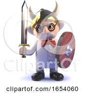 Mad Scientist Professor In 3d Is A Might Barbarian Warrior