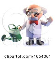 Cartoon 3d Mad Scientist Gardener Character Watering His Plants