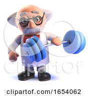 Cartoon Mad Scientist In 3d Not Realising His Own Strength Weightlifting