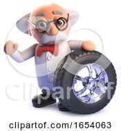 3d Cartoon Mad Scientist Character With A Car Wheel With Tyre And Chrome Rim