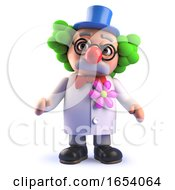 Crazy Mad Scientist Character In 3d Dressed As A Funny Clown In Wig