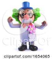 Cartoon 3d Mad Scientist Character Dressed As A Clown With A Red Nose