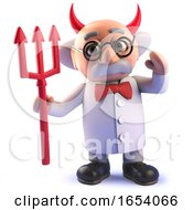 Funny Cartoon 3d Mad Scientist Wearing Devil Horns And Holding Satans Trident by Steve Young