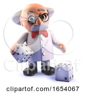 Cartoon Mad Scientist Professor Character In 3d Playing With Dice