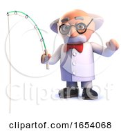 3d Mad Scientist Professor Character Fishing With A Rod
