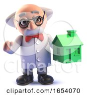 Mad Scientist Professor Character In 3d Holding A Green House