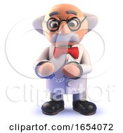 Cartoon 3d Funny Mad Scientist Character Wearing Handcuff Restraints