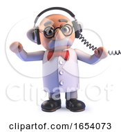 Mad Scientist Cartoon Character In 3d Wearing A Pair Of Headphones