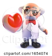 Poster, Art Print Of 3d Cartoon Mad Scientist Professor Character Holding A Red Heart