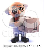Cartoon Mad Scientist Professor In 3d Holding A Carboad Box Delivery