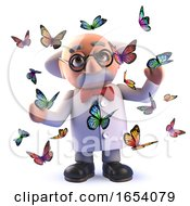 Mad Scientist Lepidopterist In 3d Surrounded By Flying Butterflies