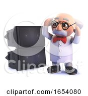 Crazy Mad Scientist Professor In 3d Deafened By A Loud PA Sound System