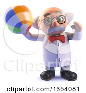 Mad Scientist Cartoon Character In 3d Playing With A Beach Ball On Holiday