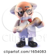Crazy Mad Scientist Character Holding A Fossil Bone In 3d