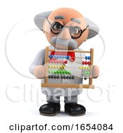 Mad Scientist Professor In 3d Holding An Abacus