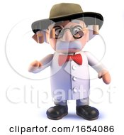 Cartoon Mad Scientist Character In 3d Wearing An Australian Bush Hat