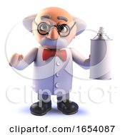 Mad Scientist Cartoon Character In 3d Holding An Aerosol Spraycan