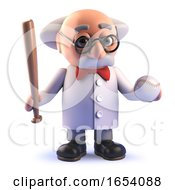 Crazy Mad Scientist Professor In 3d Holding Baseball Bat And Ball