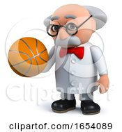 Mad Scientist Professor Character Holding A Basketball In 3d