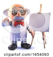 3d Crazy Mad Scienist Professor Standing In Front Of A Blank Easel