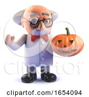 3d Crazy Mad Scientist Character Holding A Halloween Pumpkin