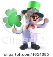 Cartoon 3d Mad Scientist With Sharock Celebrating St Patricks Day