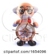 Cartoon 3d Mad Scientist Professor Steering With A Ships Wheel