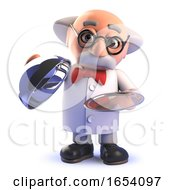 Funny Cartoon 3d Mad Scientist Character With Silver Platter Vip Service